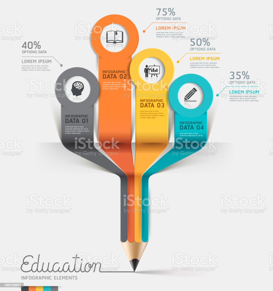Education pencil Infographics step option. royalty-free stock vector art