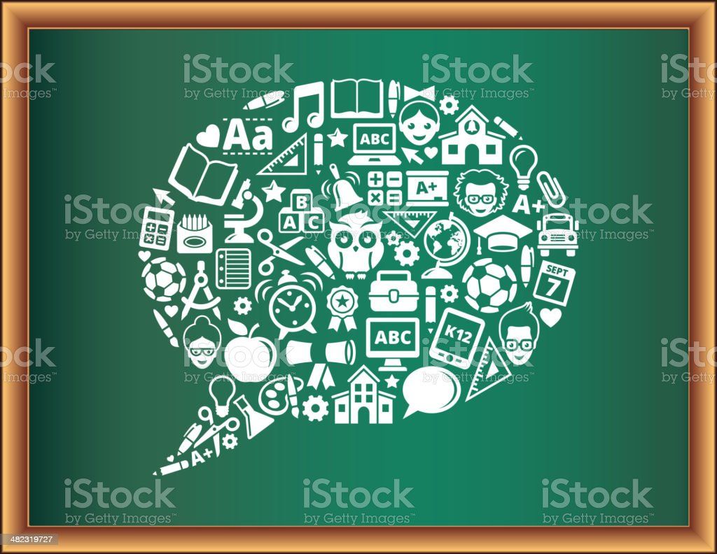 education & school and education Speech Bubble Blackboard Collection royalty-free stock vector art