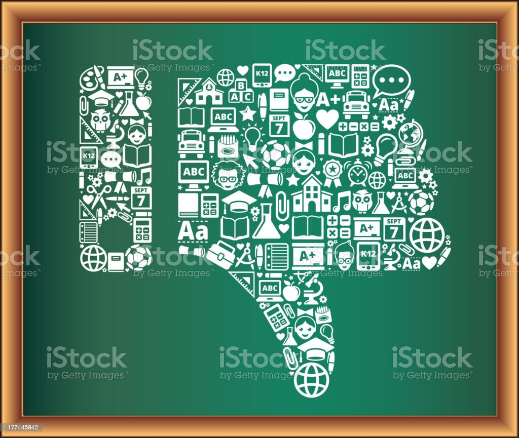 education & school and education Thumbs Down Blackboard Collection royalty-free stock vector art