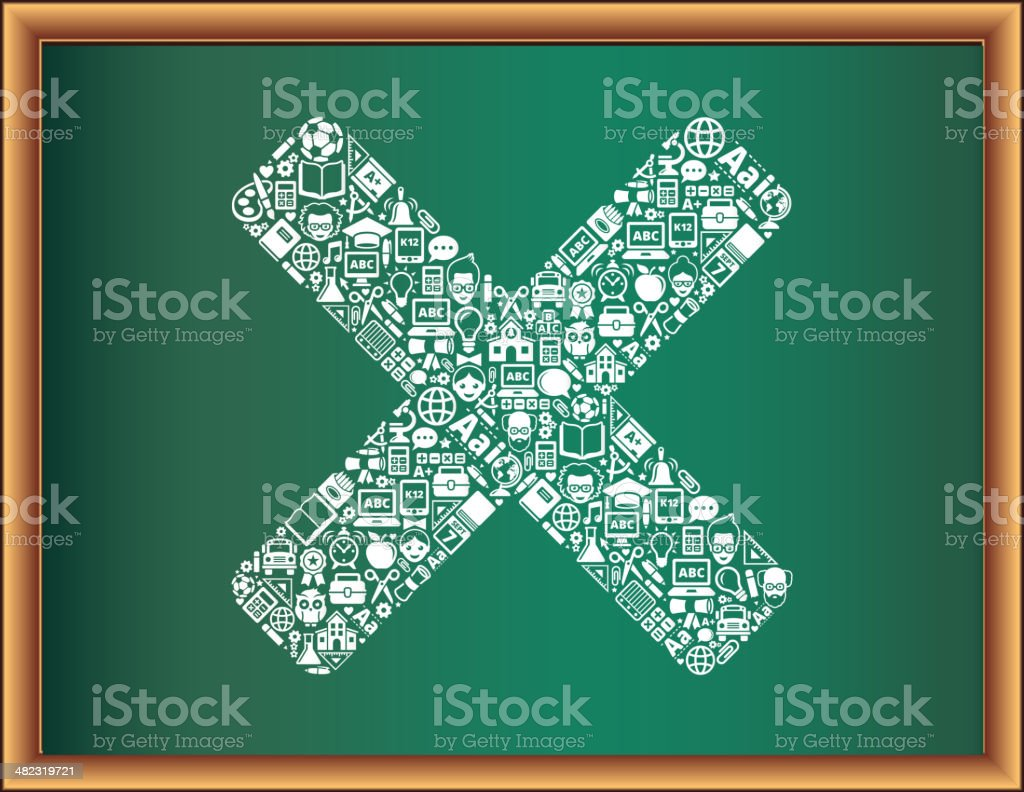 education & school and education X Symbol Blackboard Collection royalty-free stock vector art
