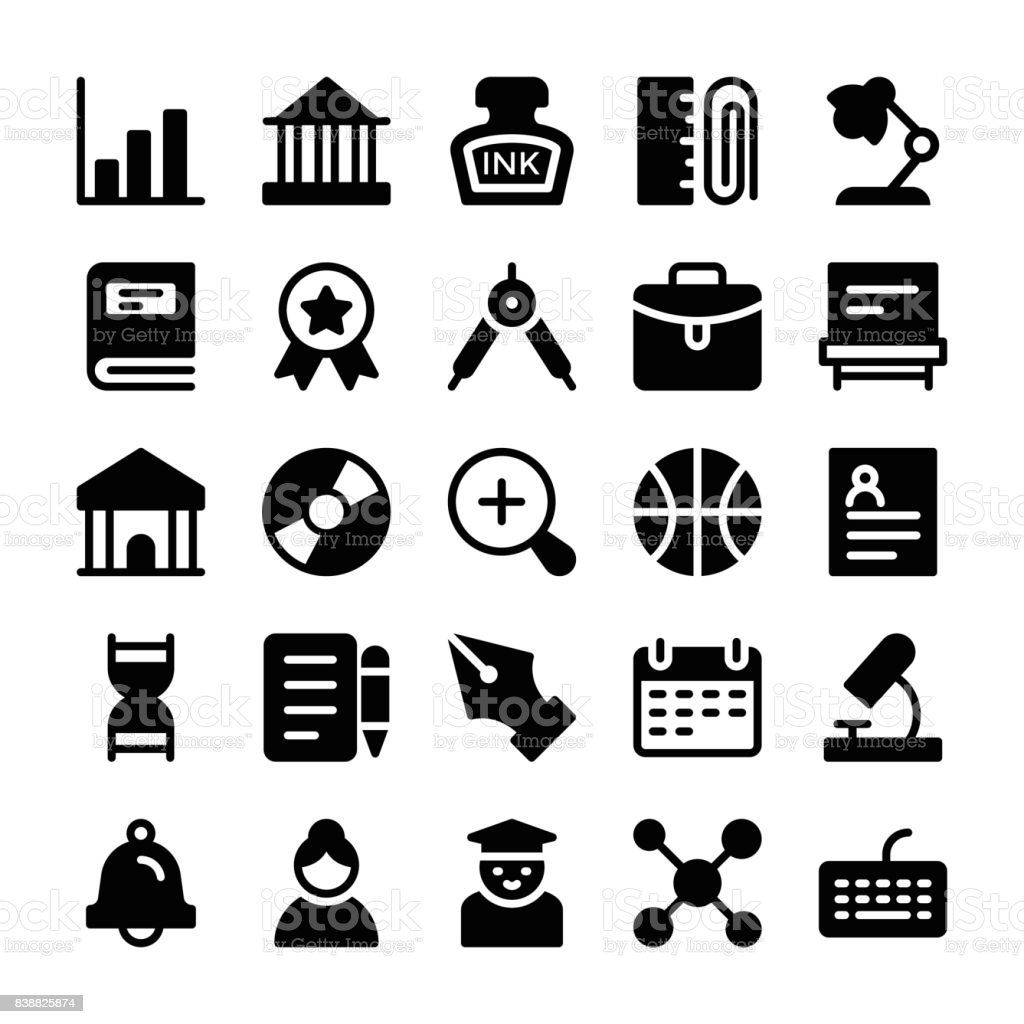 Education Solid Icons 2 vector art illustration
