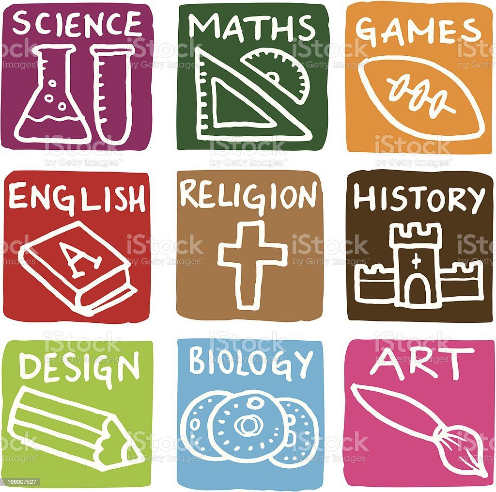 Education subject block icons icon set vector art illustration