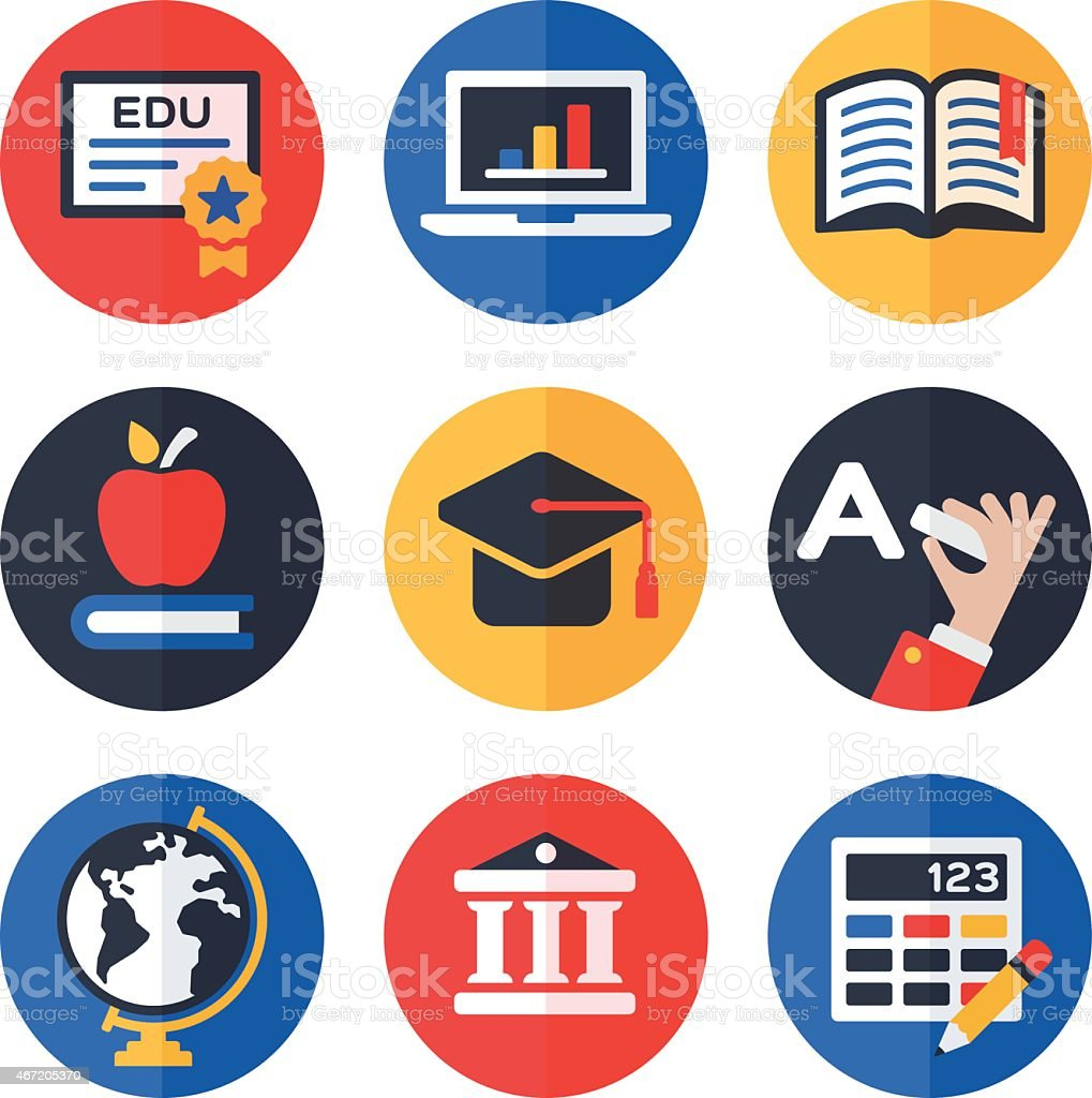 Education Symbols and Icons vector art illustration