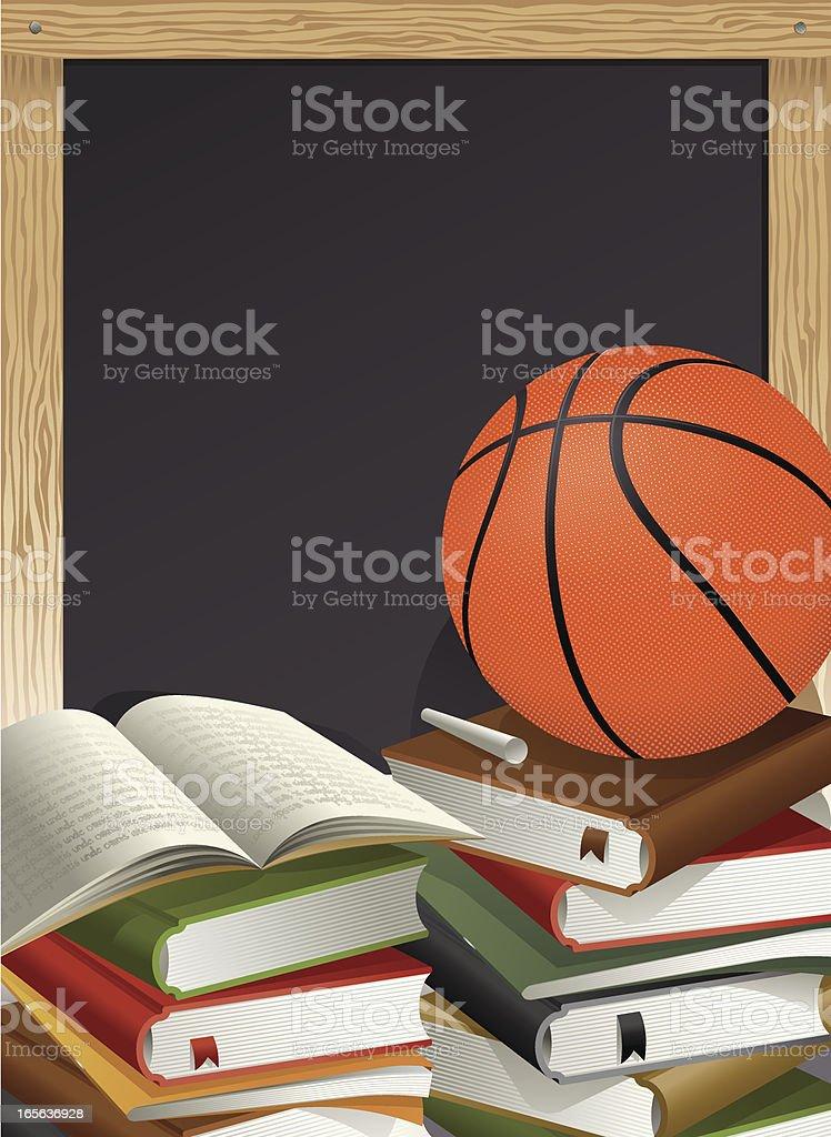 Education Theme, Basketball, Chalk and Blackboard Vector royalty-free stock vector art
