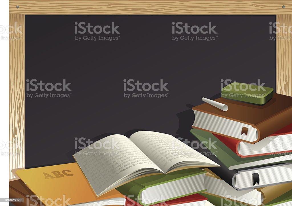 Education Theme, Books, Eraser, Chalk and Blackboard Vector vector art illustration