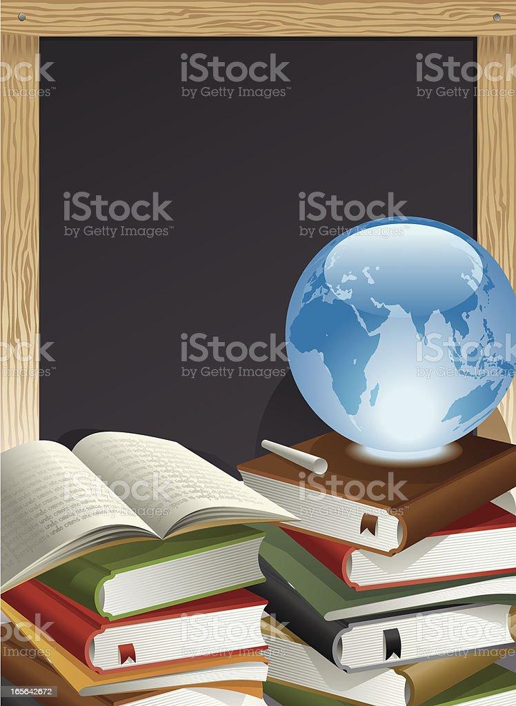 Education Theme, Books, Globe, Chalk and Blackboard Vector vector art illustration