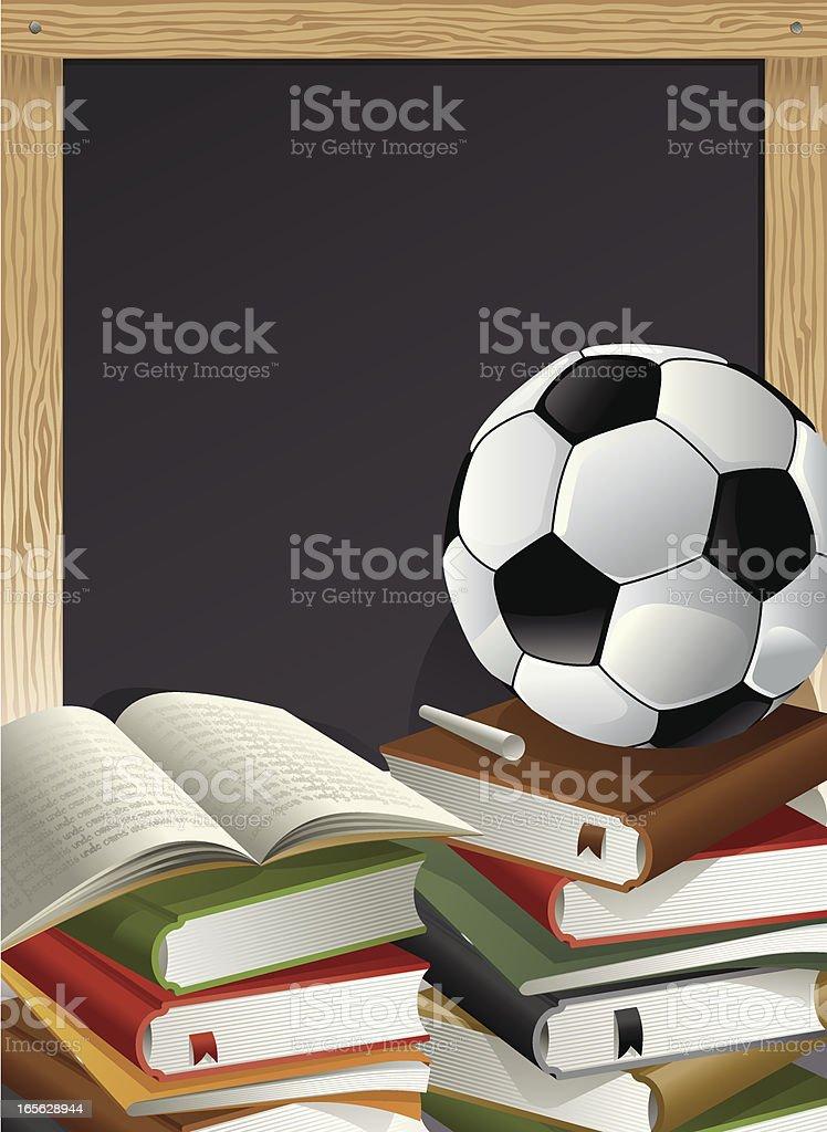 Education Theme, Books, Soccer Ball, Chalk and Blackboard Vector vector art illustration