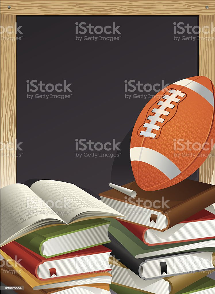 Education Theme, Football, Chalk and Blackboard Vector vector art illustration