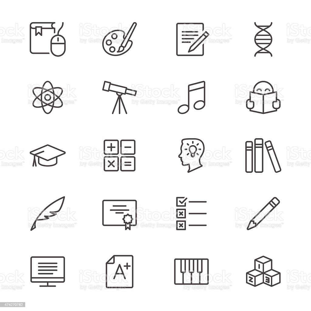 Education thin icons vector art illustration