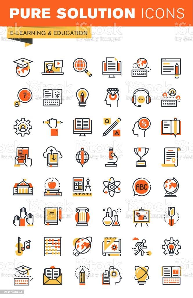 Educación en línea fina colección de iconos plana diseño de Web illustracion libre de derechos libre de derechos