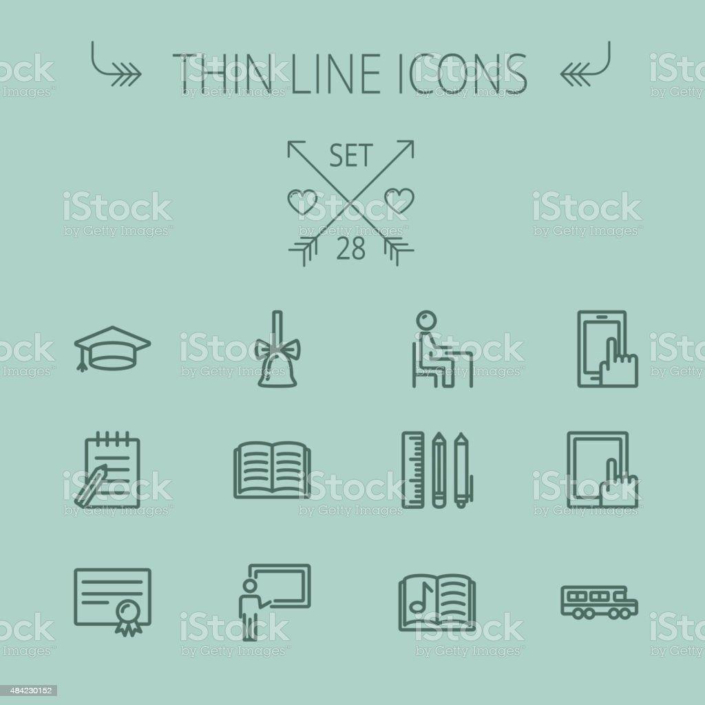 Education thin line icon set vector art illustration