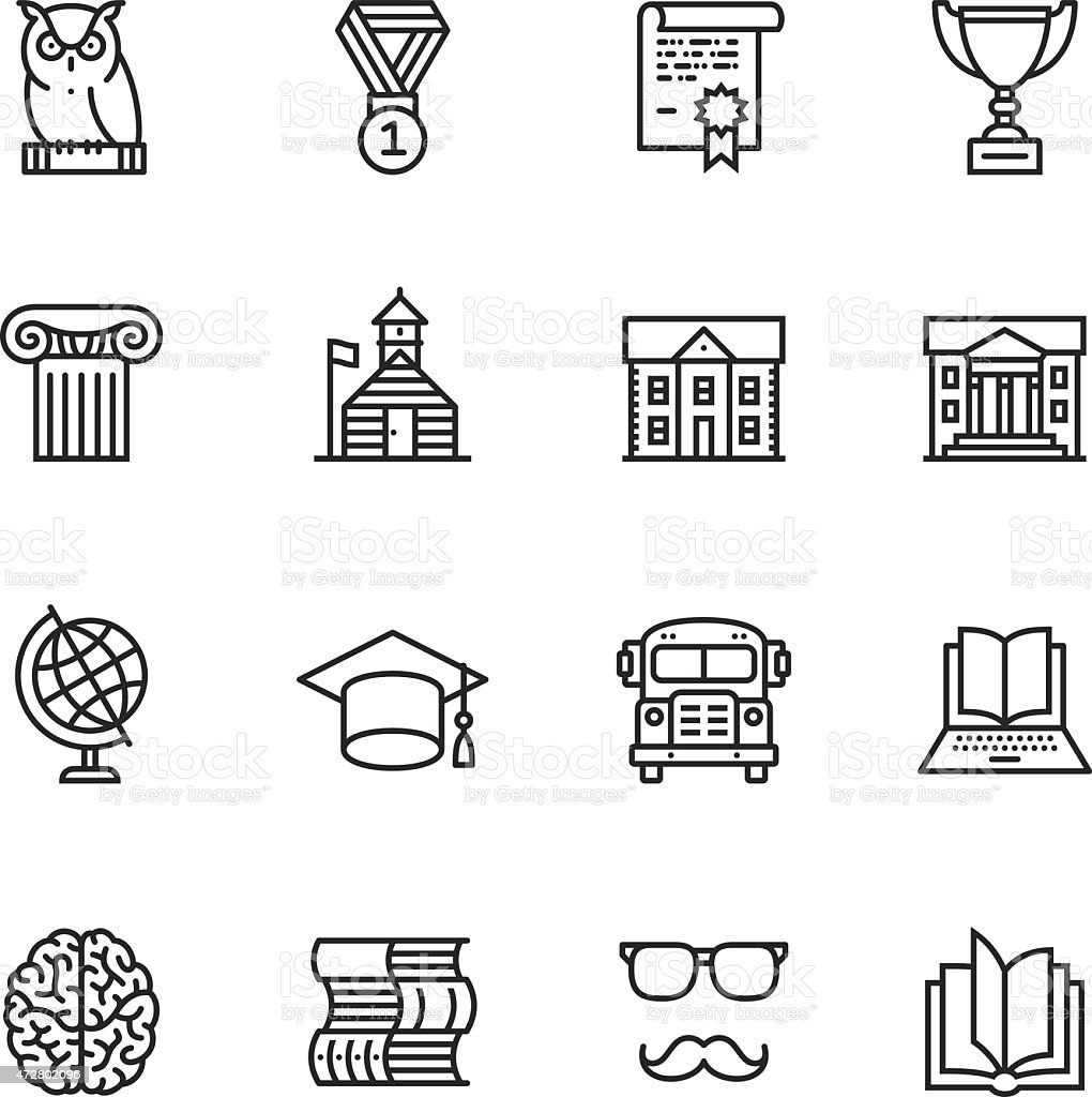 Education Thin Line icons vector art illustration