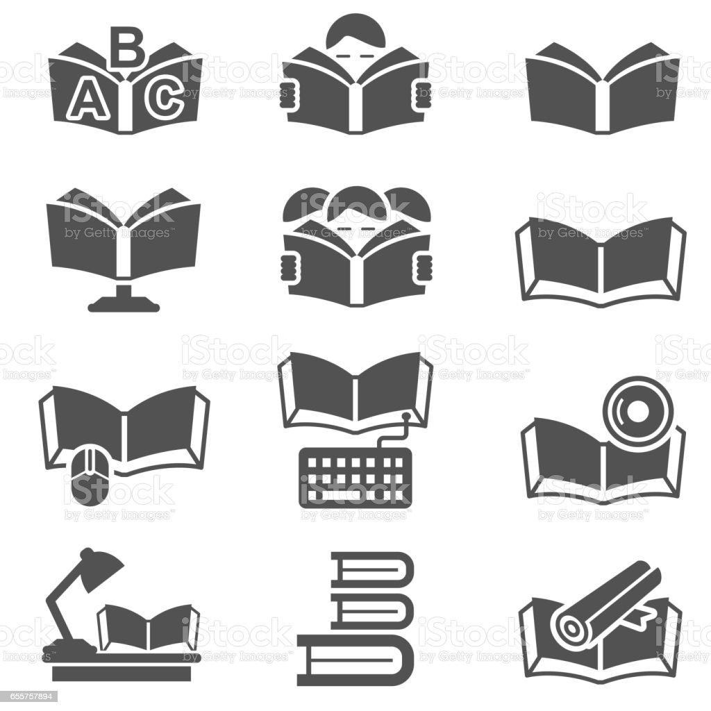 Education vector icon set vector art illustration