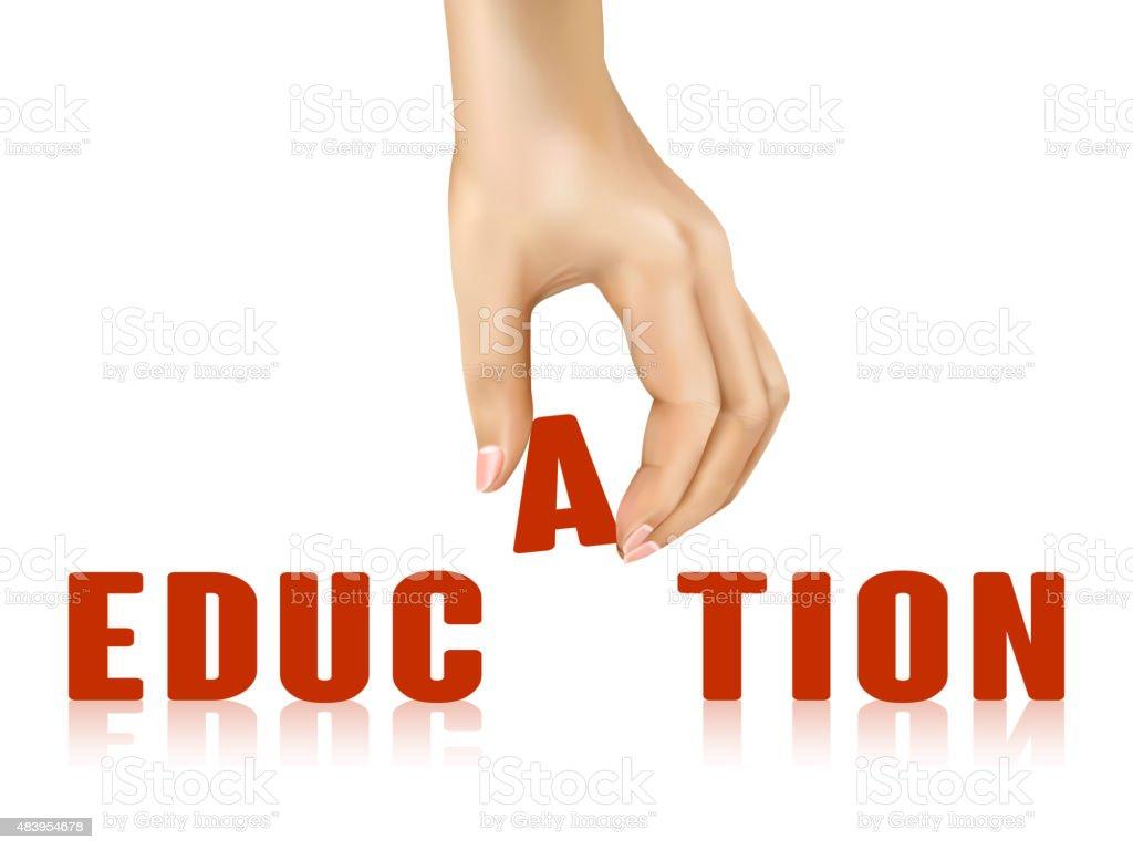 education word taken away by hand vector art illustration