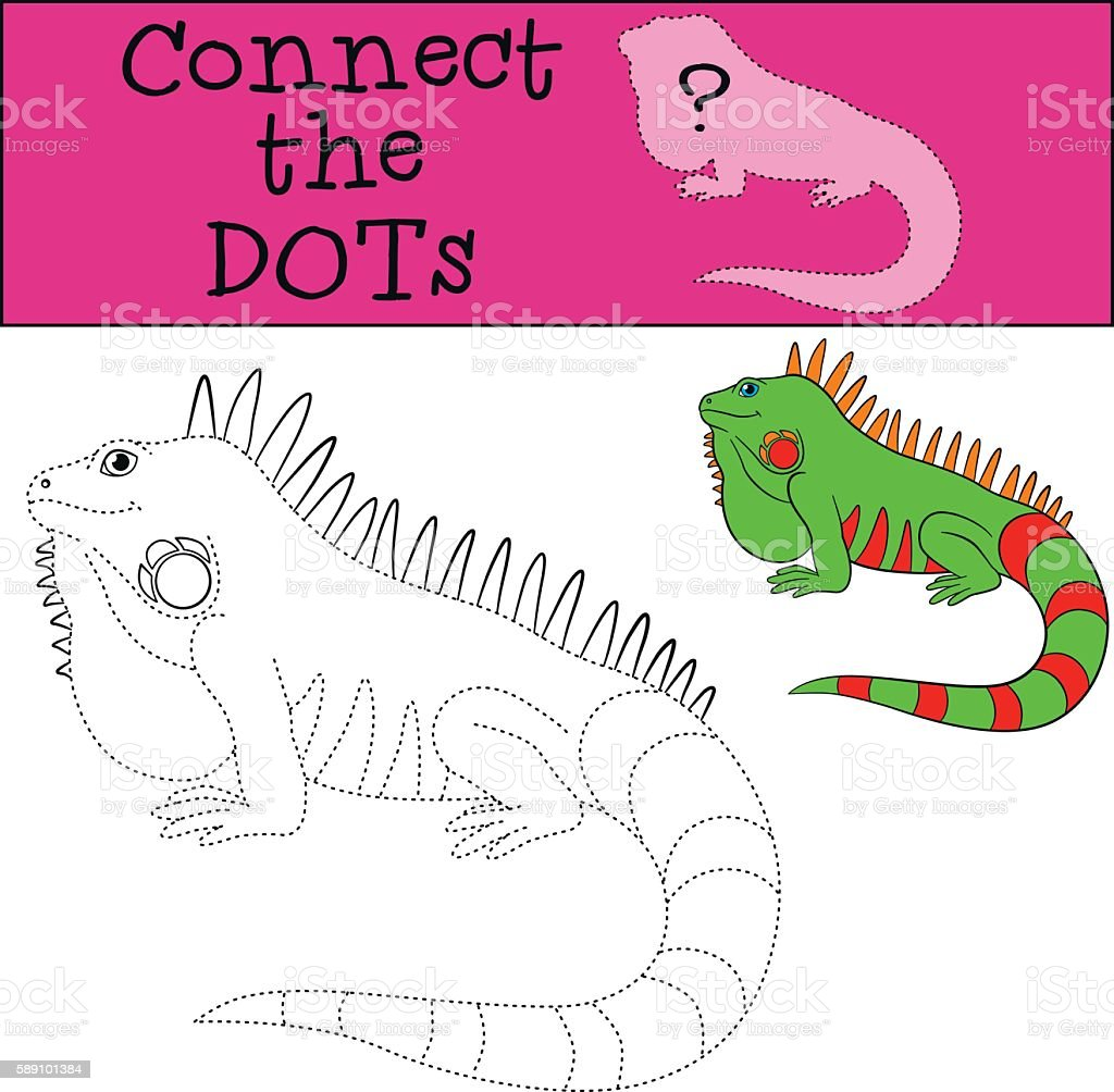 educational game connect the dots cute iguana stock vector art