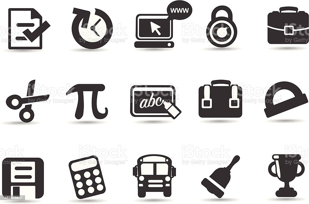 Educational Icons and Symbols royalty-free stock vector art