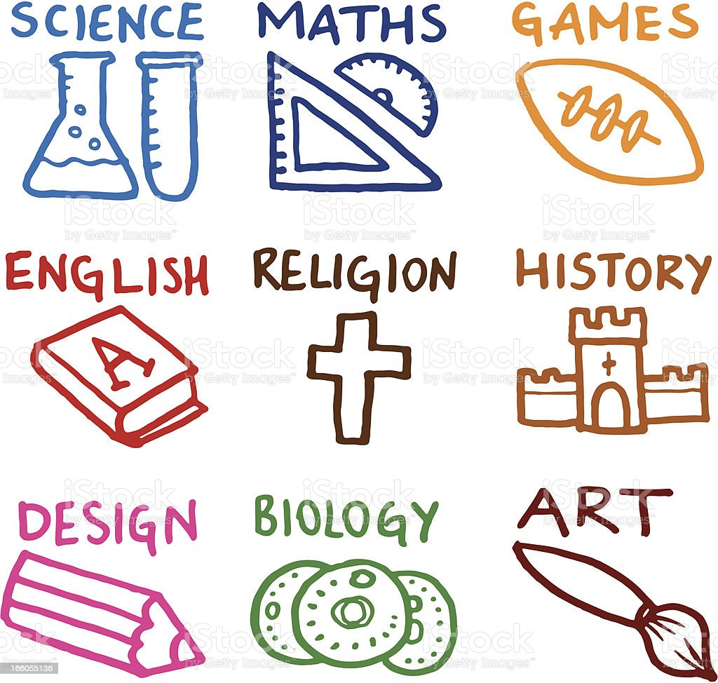 Educational subject doodle icons vector art illustration