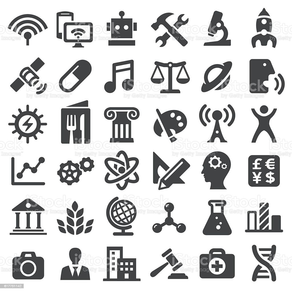 Educational Subjects Icons - Big Series vector art illustration