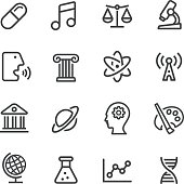 Educational Subjects Icons - Line Series