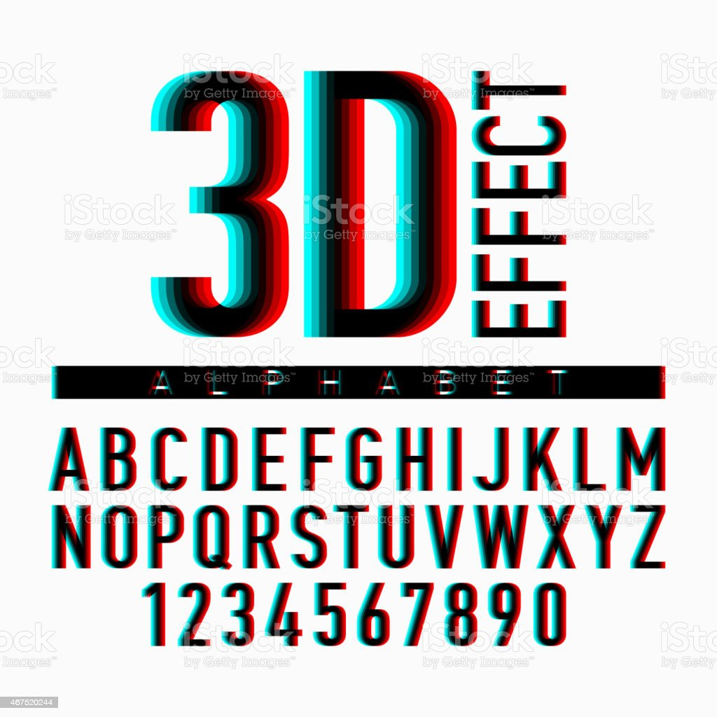 3D effect alphabet and numbers vector art illustration