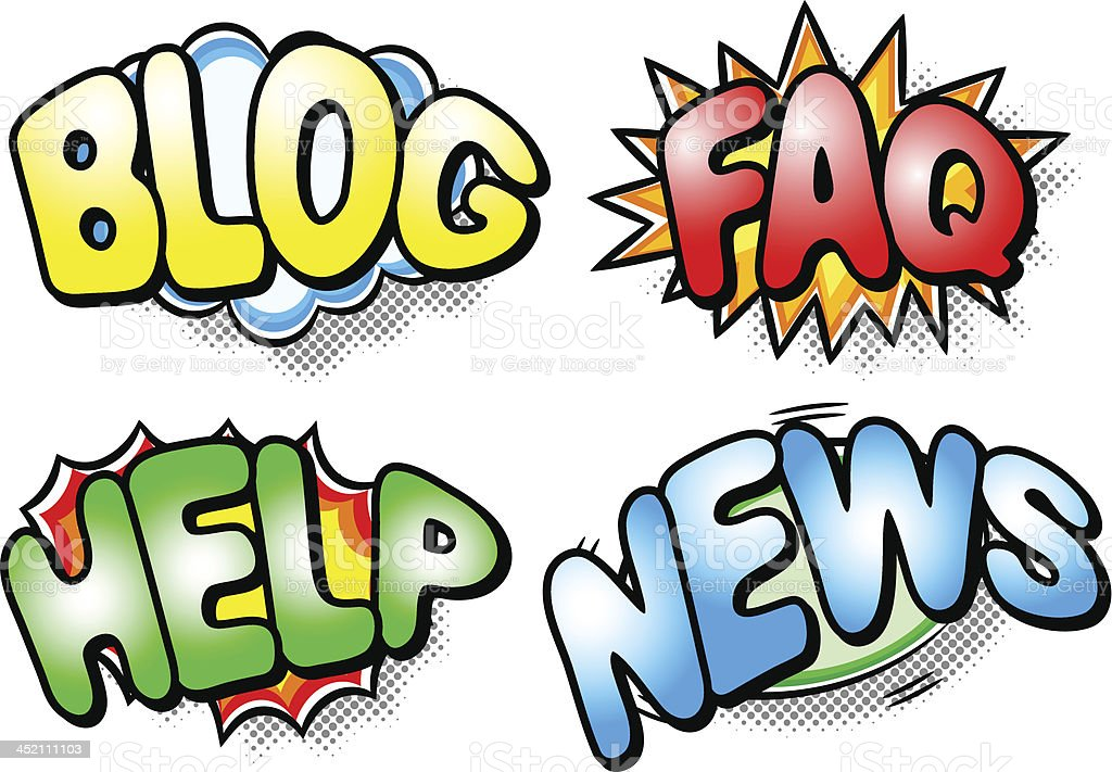 effect bubbles with blog, faq, help and news on it royalty-free stock vector art