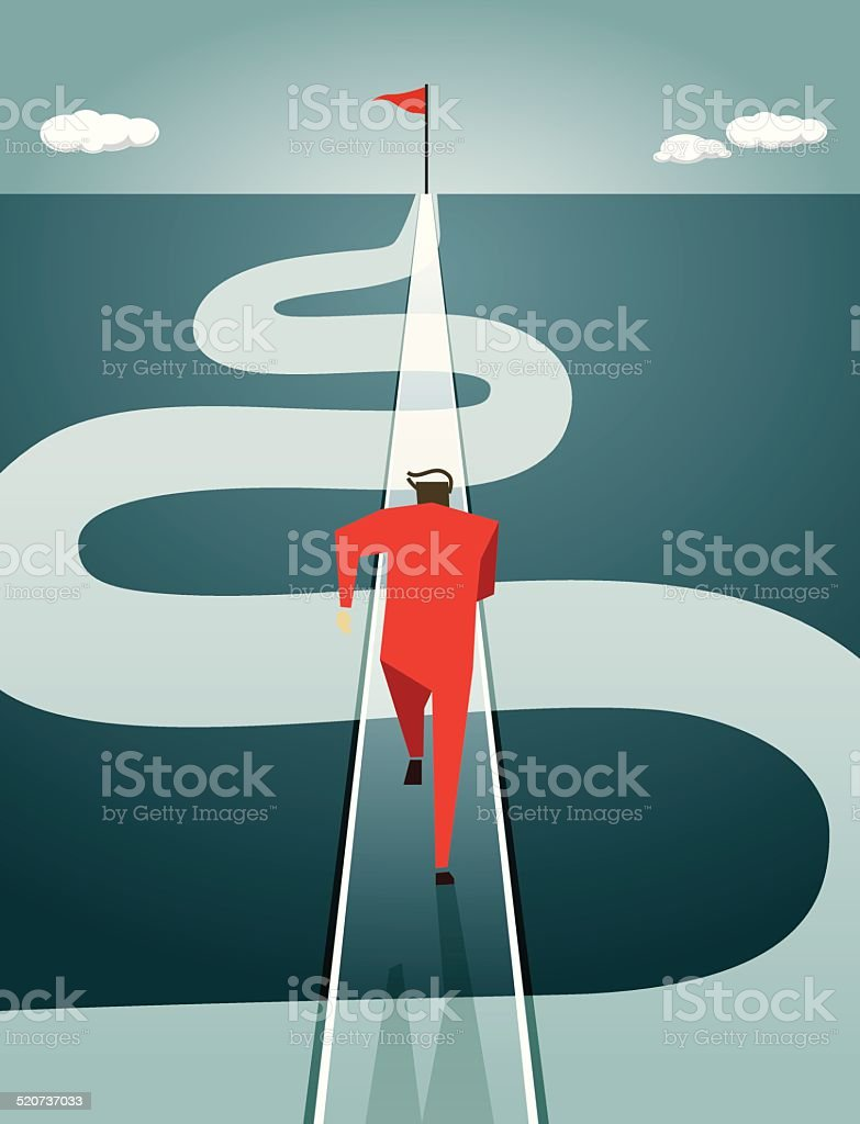 Efficiency, Thinking, Road, Winding Road,Goal,  Speed, On The Move vector art illustration