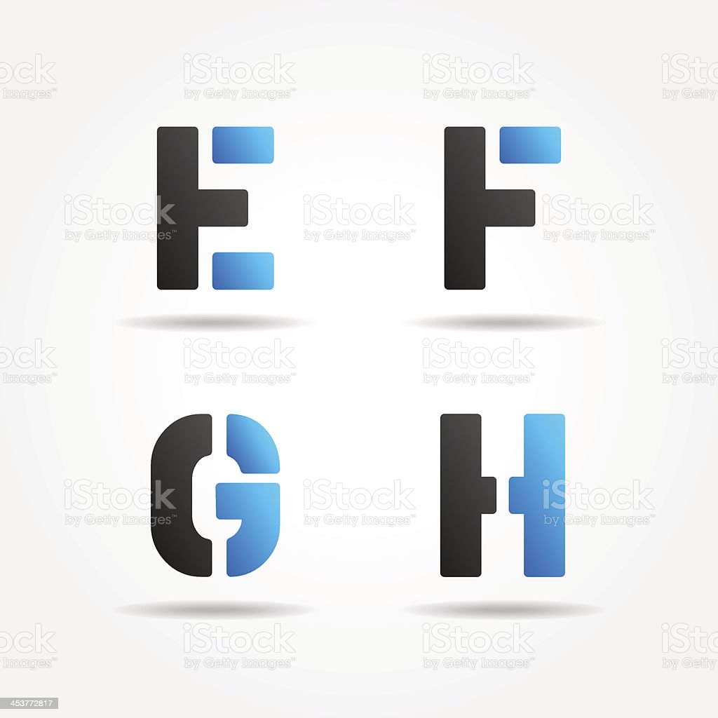 efgh blue stencil font vector art illustration