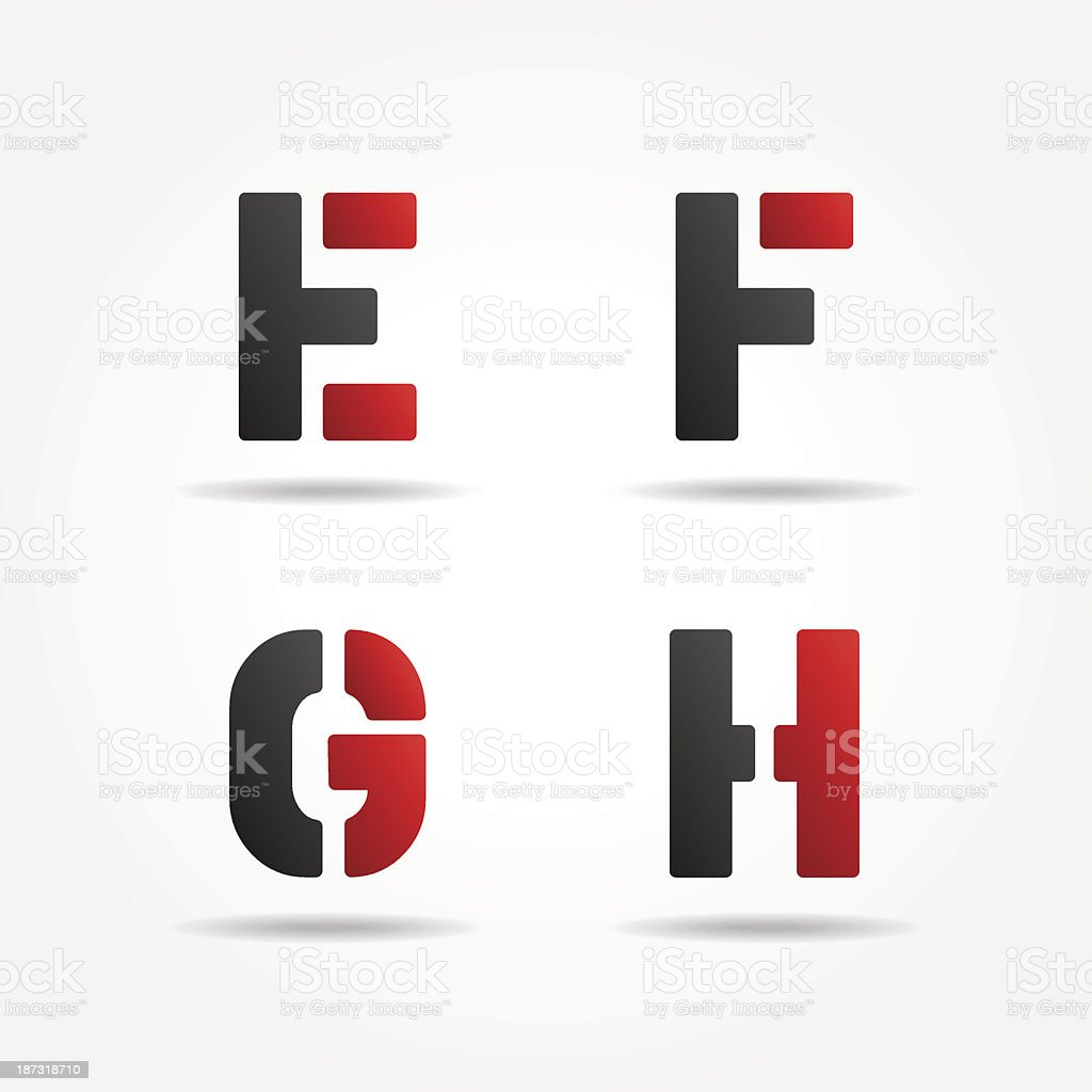 efgh red stencil letters royalty-free stock vector art