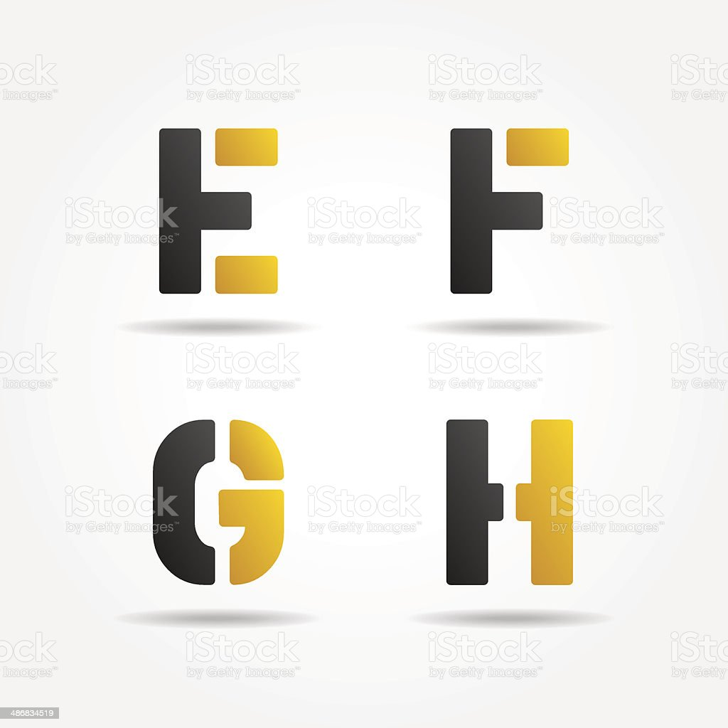 efgh yellow stencil letters vector art illustration