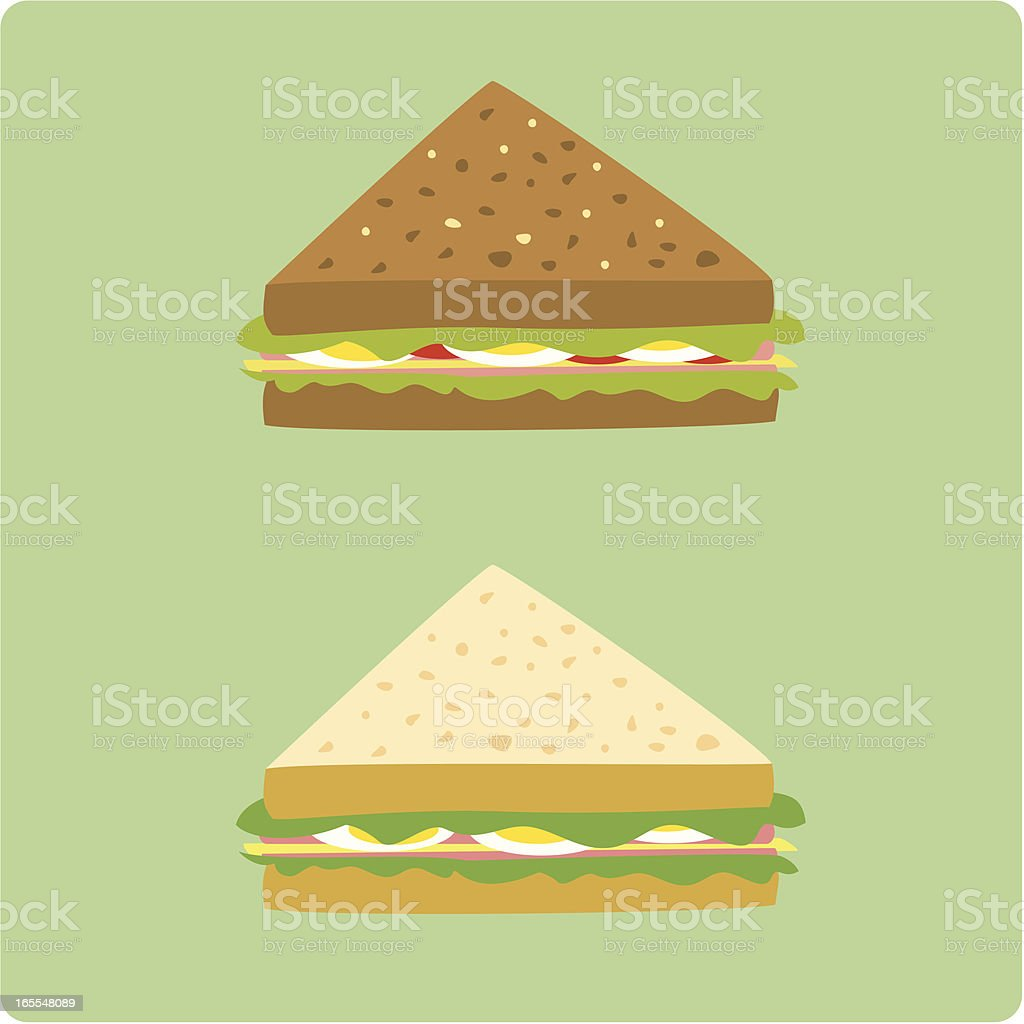 egg and ham sandwiches vector art illustration