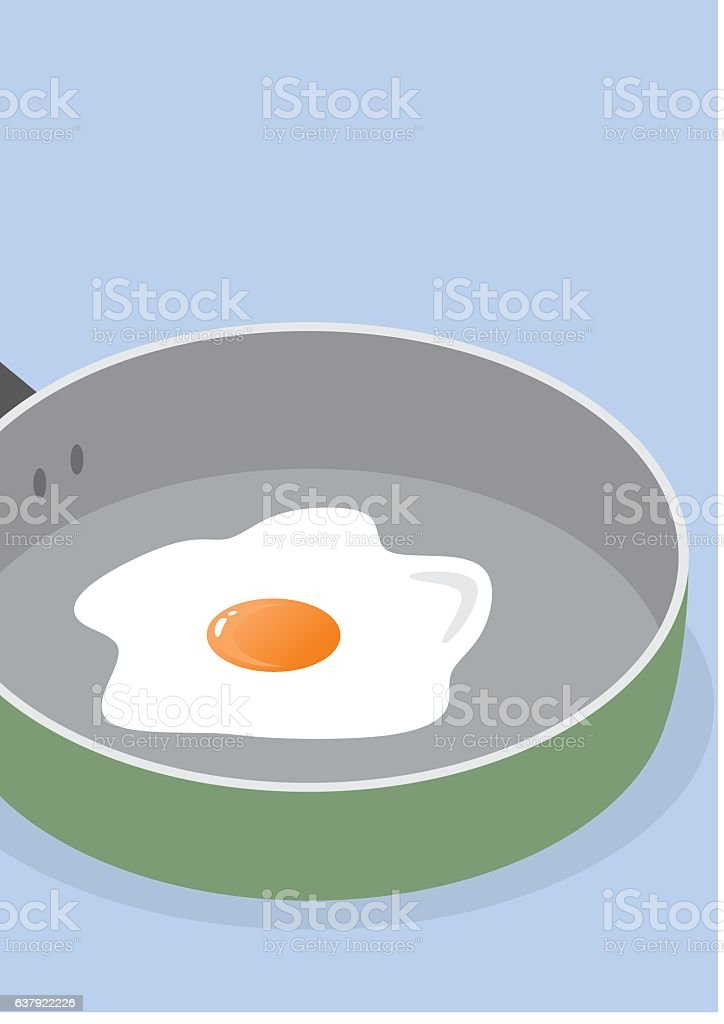 egg and pan vector art illustration