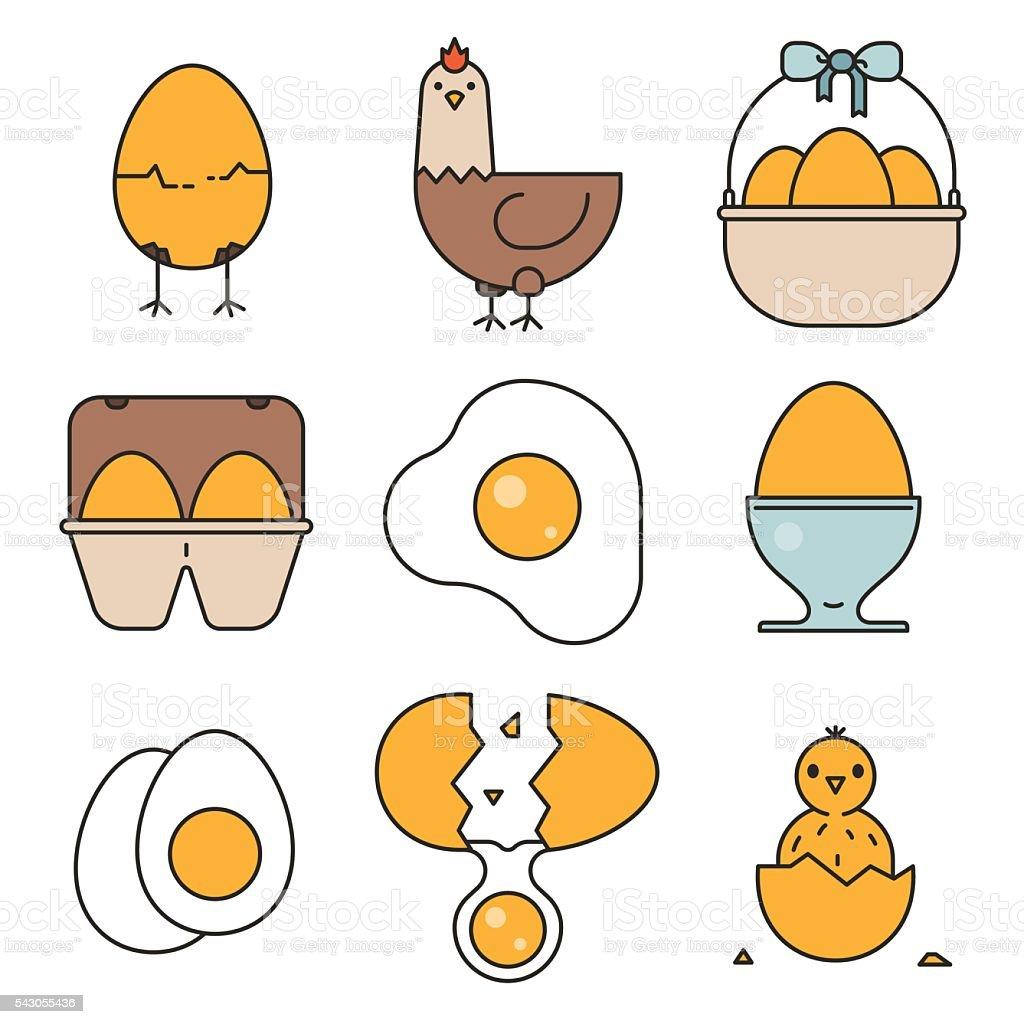 Egg, fried egg, egg box, chicken, chick icons vector art illustration