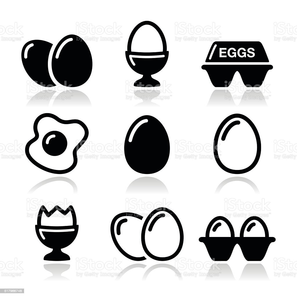Egg, fried egg, egg box icons set vector art illustration