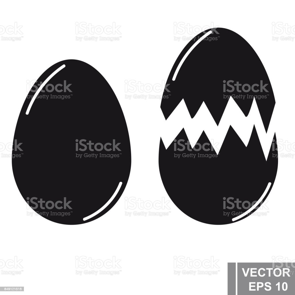 Egg. Icon. Black silhouette. For your design. vector art illustration