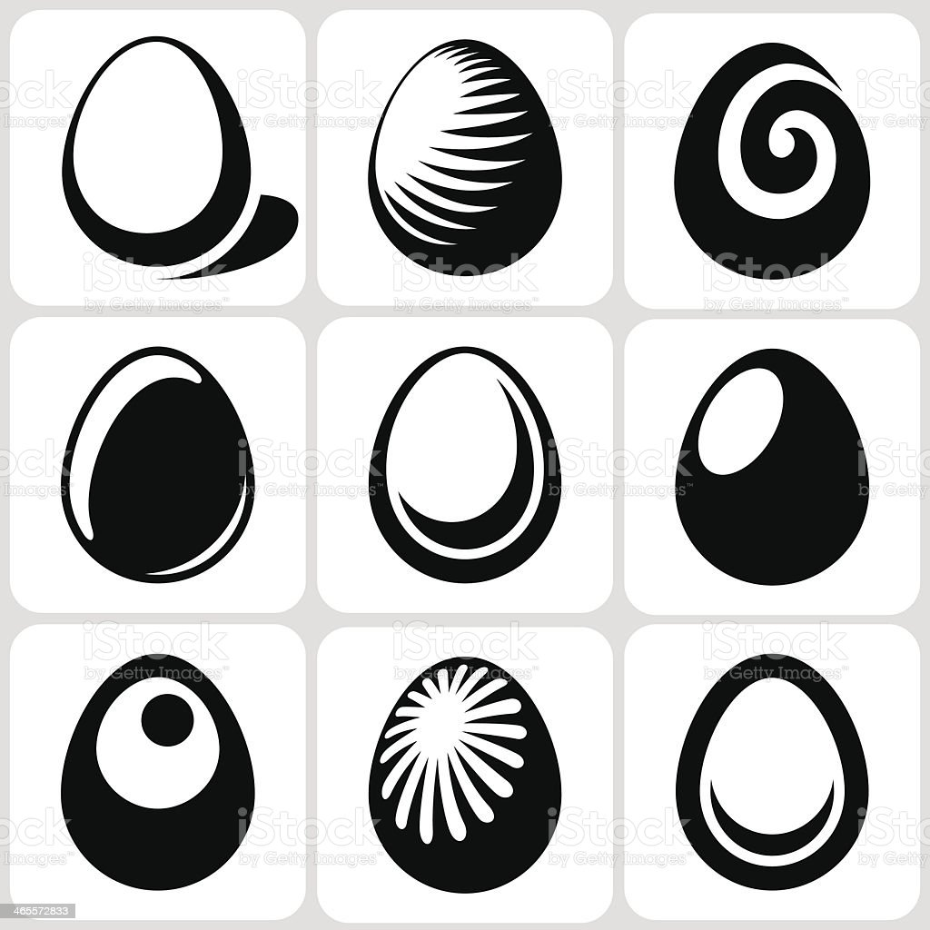 egg icons set vector art illustration
