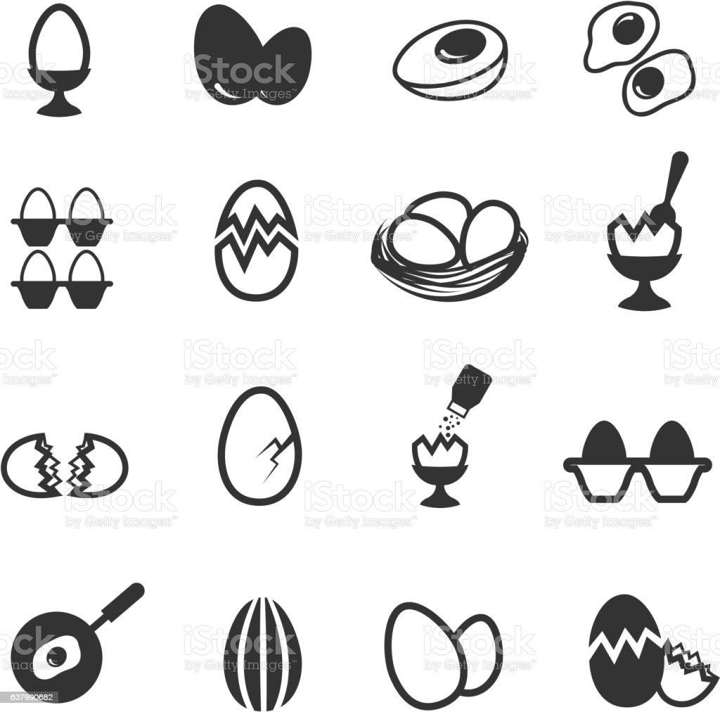 Egg icons set vector art illustration