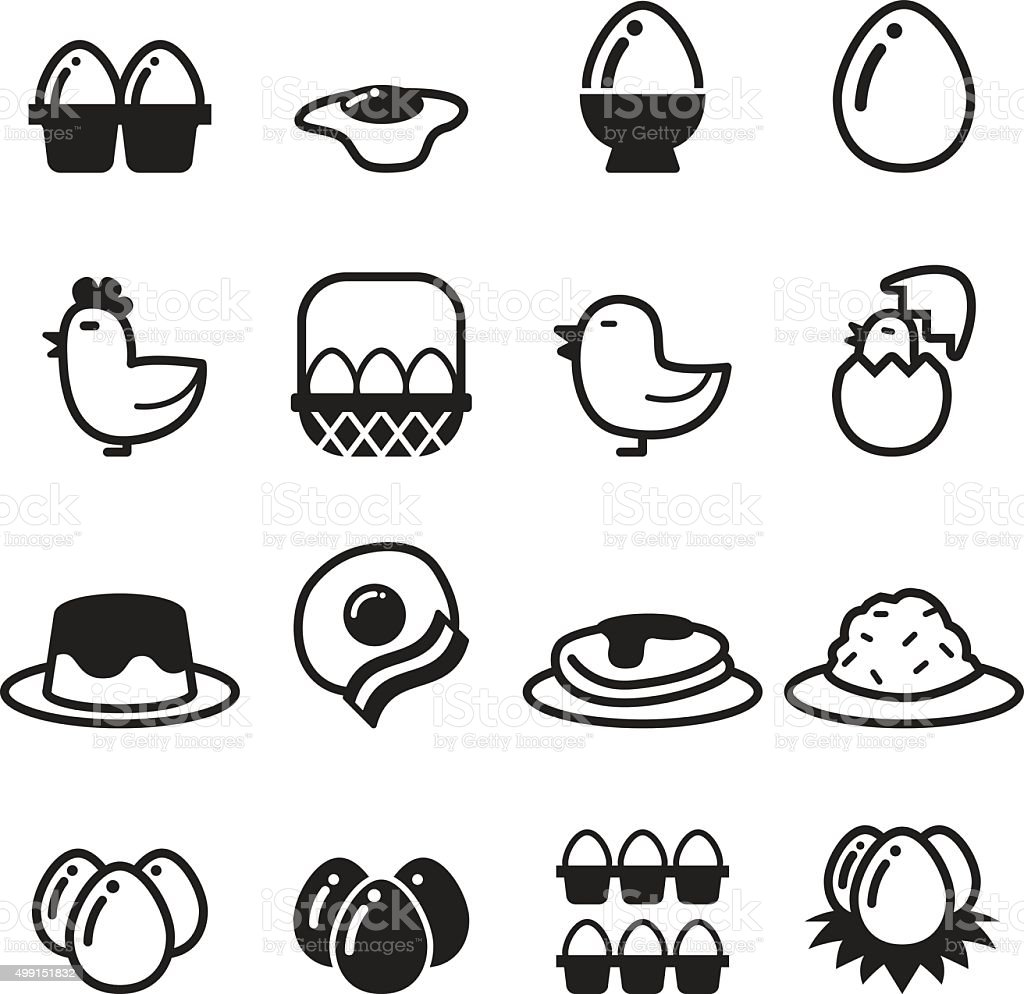 Egg icons set vector vector art illustration