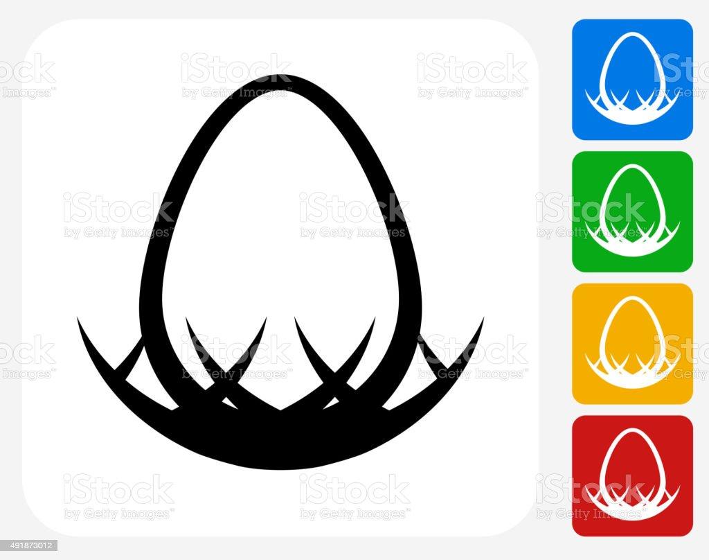 Egg in Nest Icon Flat Graphic Design vector art illustration