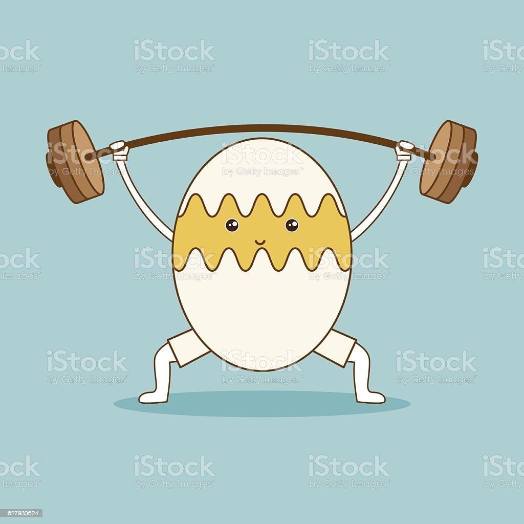 Egg lifts barbell on green background. vector art illustration