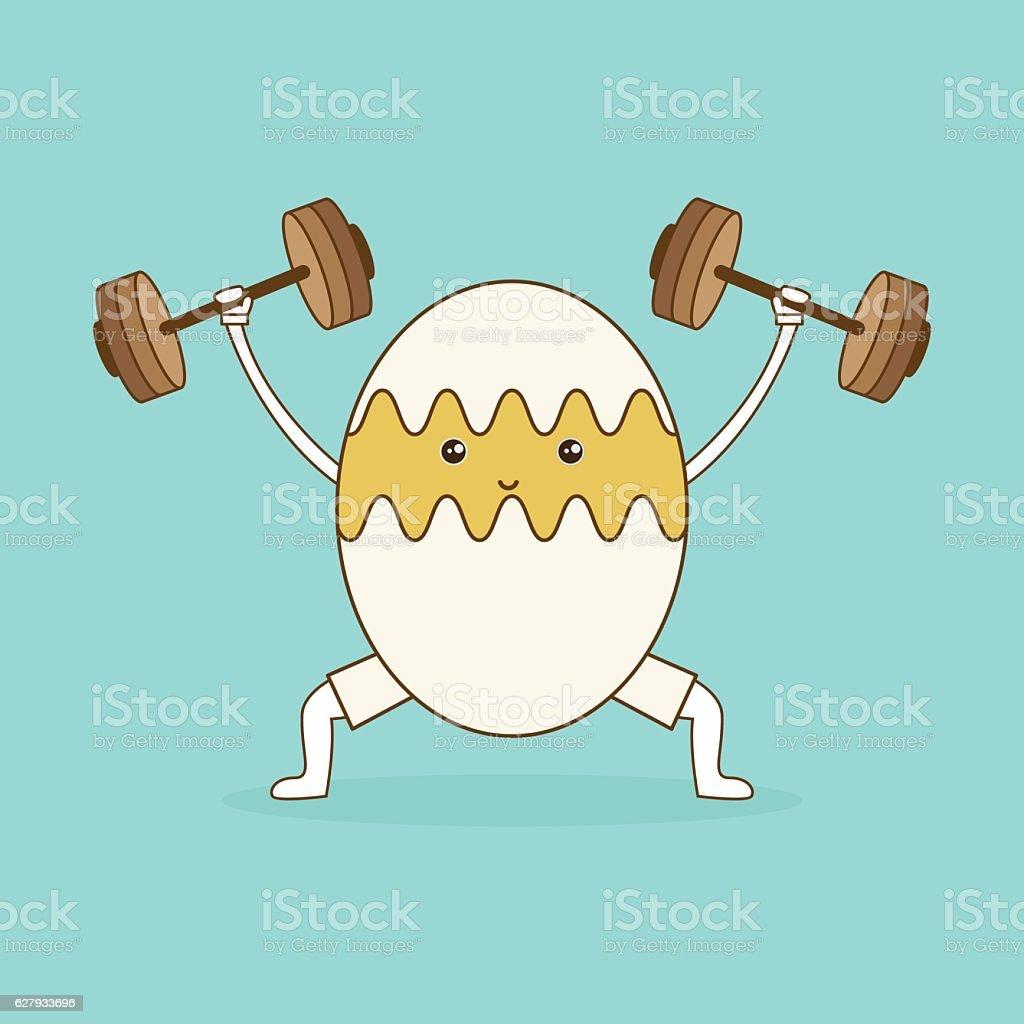 Egg lifts dumbbells on green background. vector art illustration