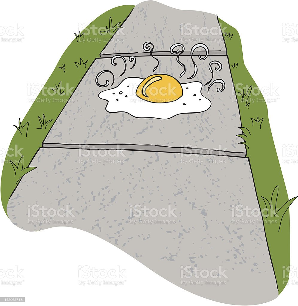 Egg on a sidewalk royalty-free stock vector art