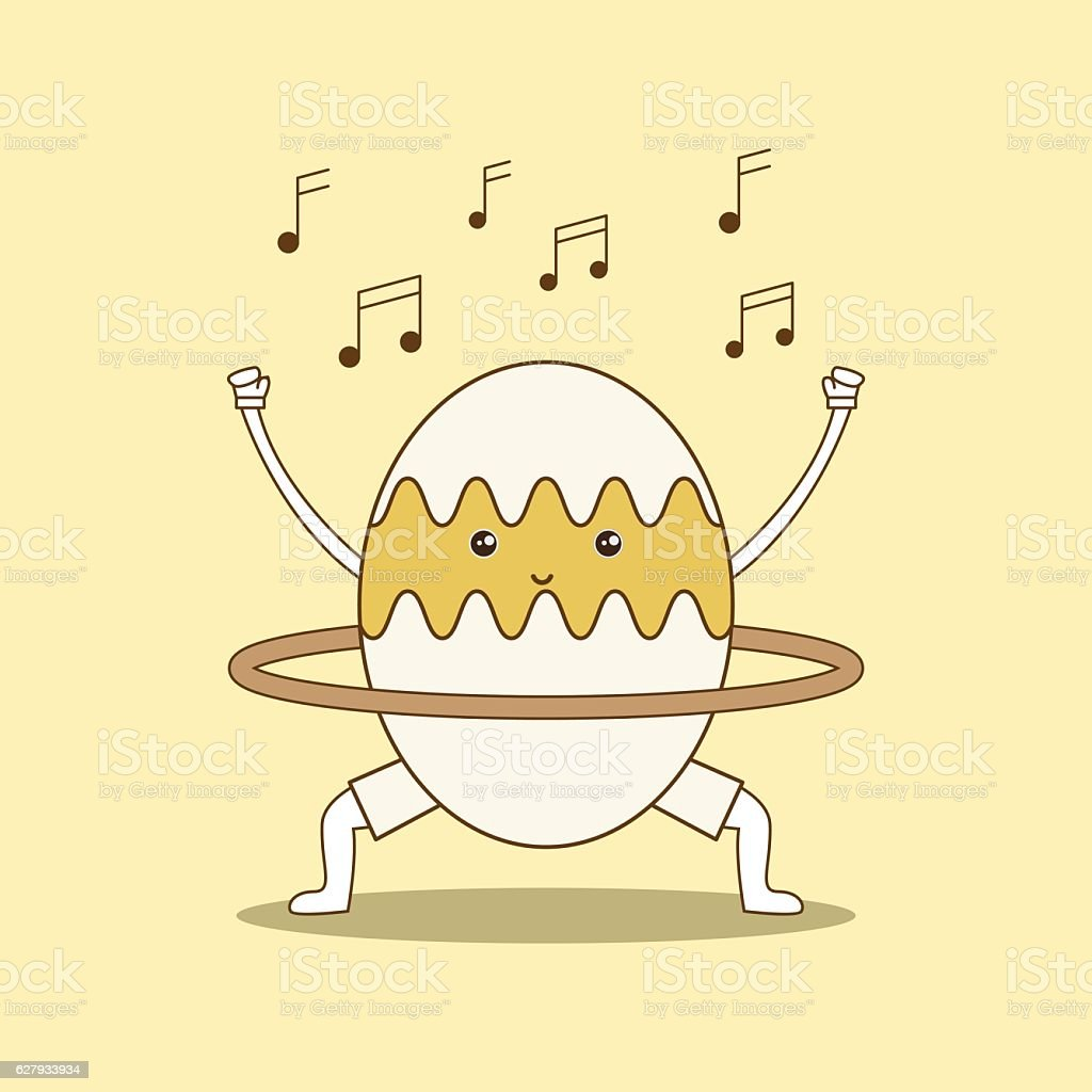 Egg playing with hula hoop on yellow background. vector art illustration