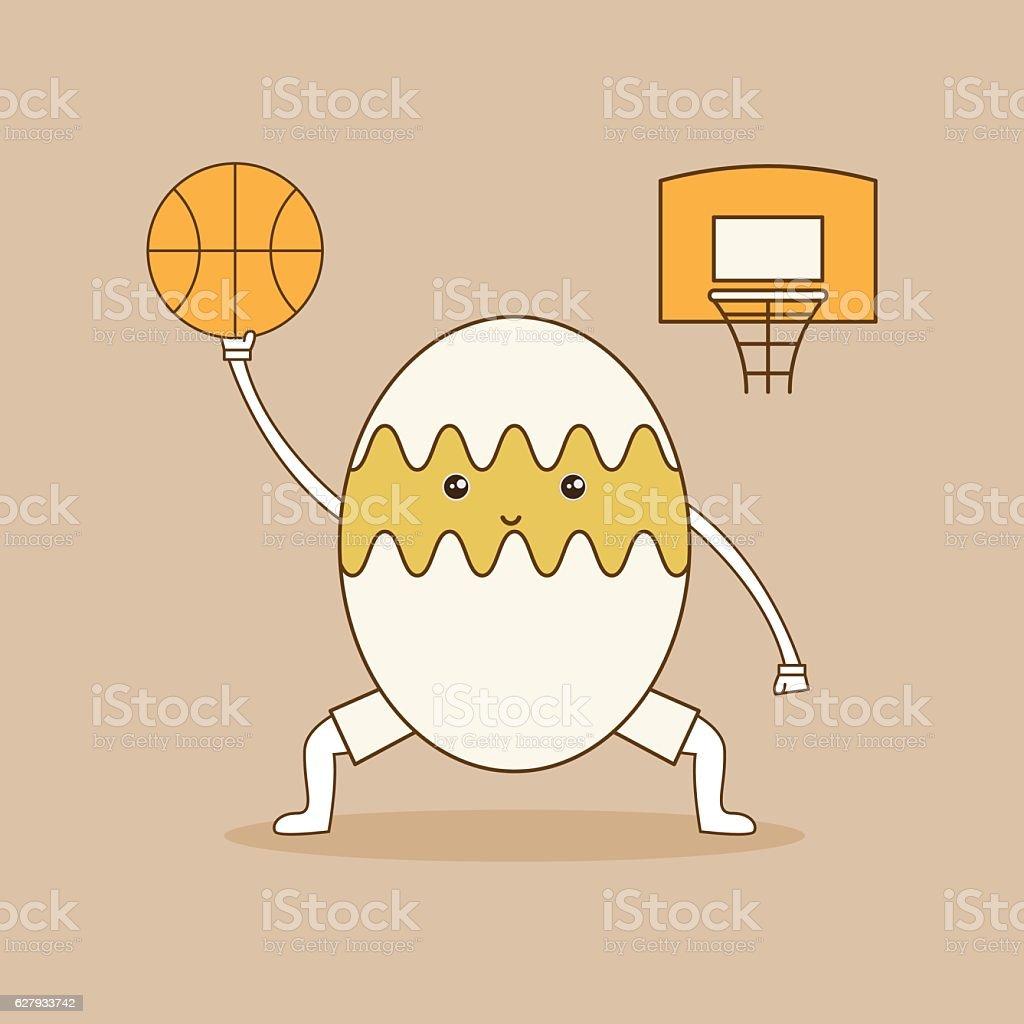 Egg plays basketball on brown background. vector art illustration