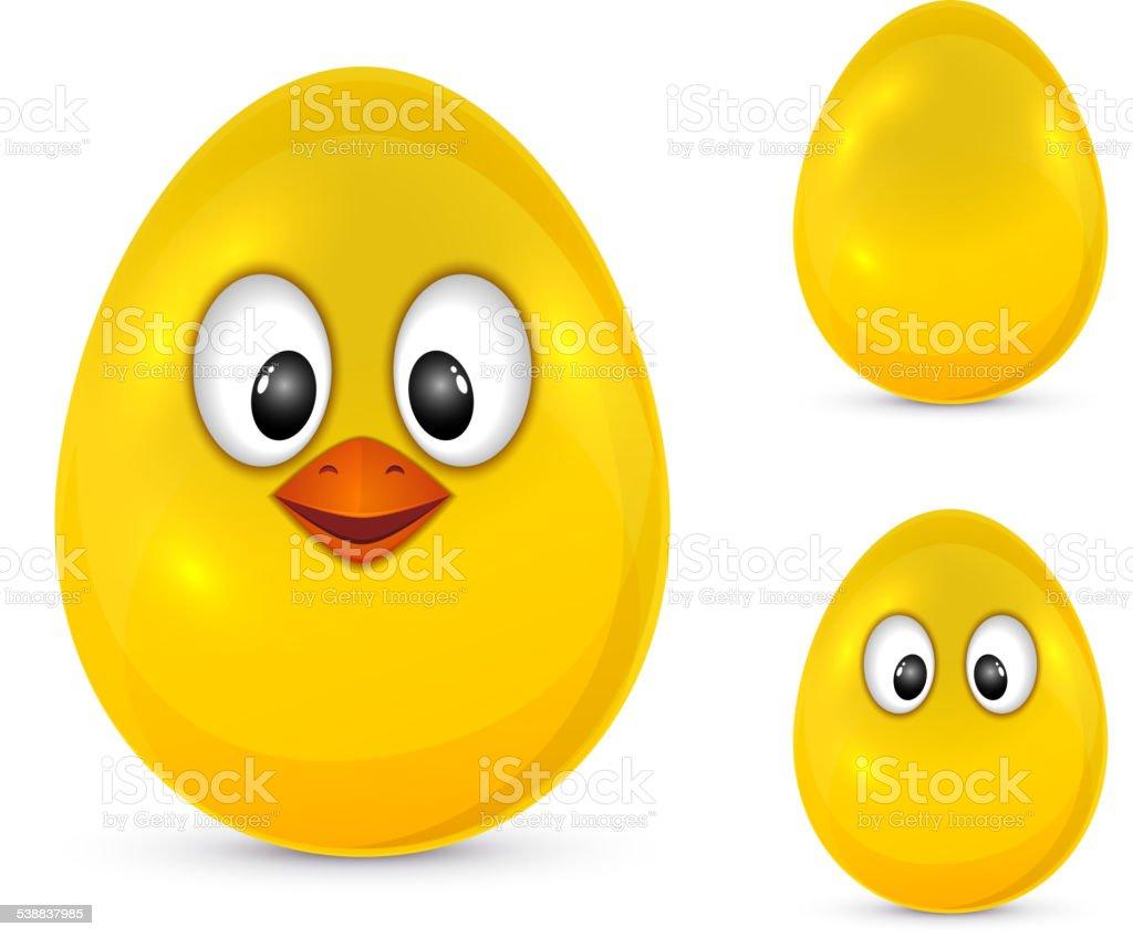 Egg with eyes vector art illustration