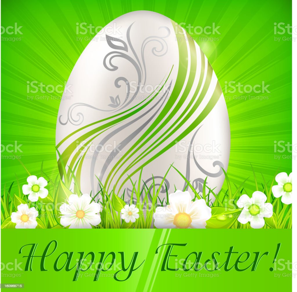 Egg with flowers on green & text royalty-free stock vector art