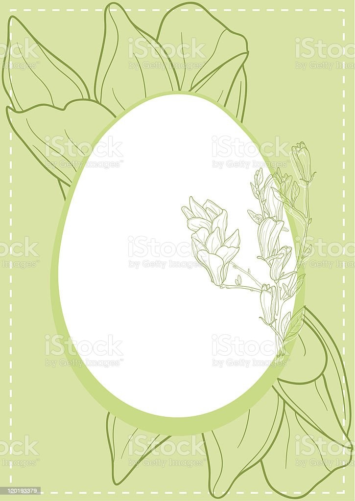 Egg with magnolia royalty-free stock vector art