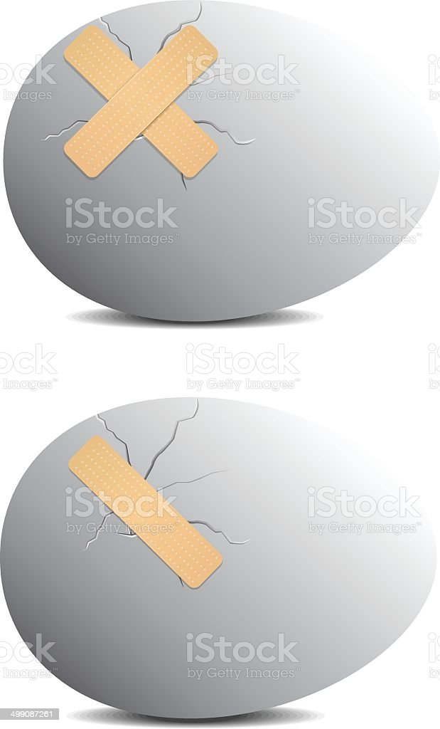 Egg with plasters vector art illustration