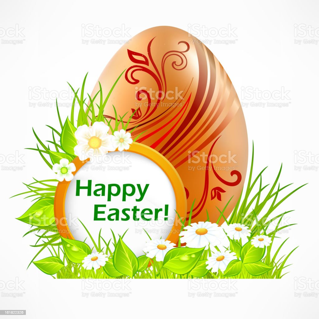 Egg with signboard & text royalty-free stock vector art