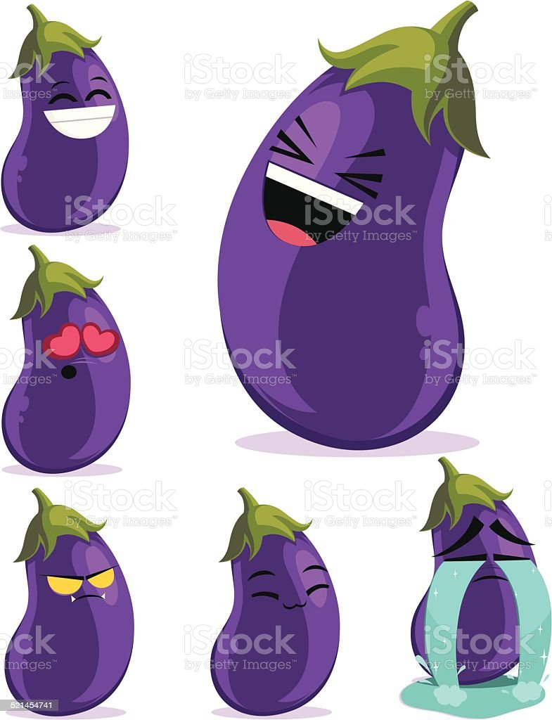 Eggplant Cartoon Set B vector art illustration