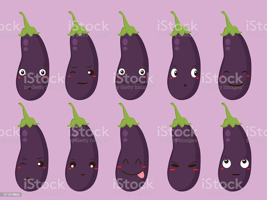 Eggplant Cartoon with Different Expressions vector art illustration